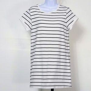 LuLus Cafe Society Black & Cream Striped Dress S
